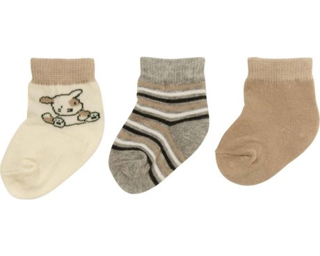 Playshoes newborn baby socks, pack of 3, with turn-down tops beige_braun 2016 - 大圖像