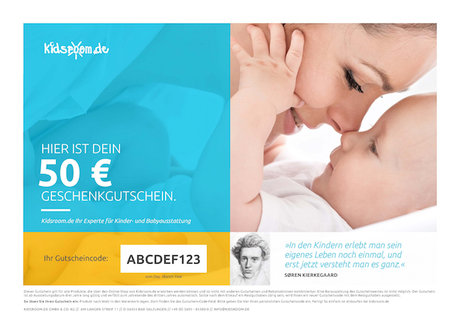kidsroom 優惠券 50 歐元 - * You are looking for a gift for a new Earthling? * Suprise your loved ones with a shopping voucher from kidsroom.de, your Baby and children's outfitter on the internet.
