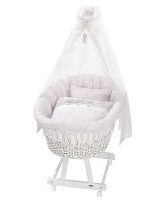 "Alvi Complete Set Bassinet ""Birthe"" with XL Lying Surface -  * The Alvi bassinet ""Birthe"" with an XL canopy is a wonderful eye-catcher in every room. This extra-spacious wicker bassinet is handwoven and offers your baby a safe and secure place to sleep right from the very first day. With a size of 80 x 46 cm it guarantees a long service life."