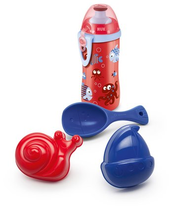 NUK Beach Set - 4 pieces -  * The NUK Beach Set contains a NUK Junior Cup 300 ml, two sand molds and a sand shovel. Ideal for beach and playground