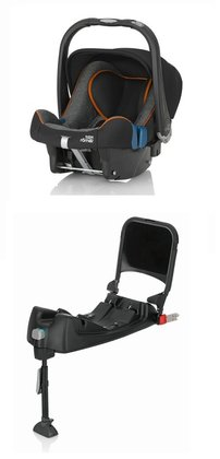 Britax Römer 嬰兒提籃 Baby-Safe Plus SHR II Highline,帶 Isofix 底座 Black Marble 2017 - 大圖像