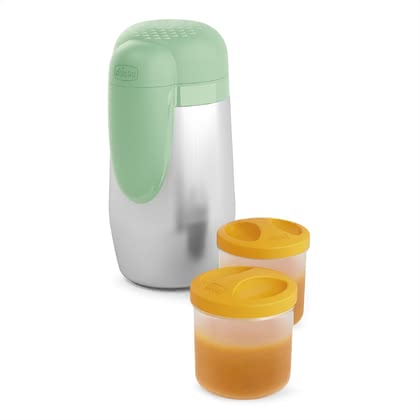 "Chicco 副食品保溫杯 Stay Warm,適合4個月以上寶寶使用 - li>The Chicco thermos-container ""Stay Warm"" keeps the temperature of the baby-food up to 5 hours and will supplied included two 250 ml storage containers"