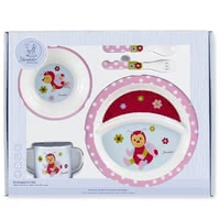 Sterntaler 兒童餐具組 -  * This four-part children's tableware set by Sterntaler helps your child eat like the grown-ups! The cute set comes with a plate, bowl, cup with two handles and cutlery, it is printed with cute Sterntaler animal-motifs and provides much pleasure when eating unaided.