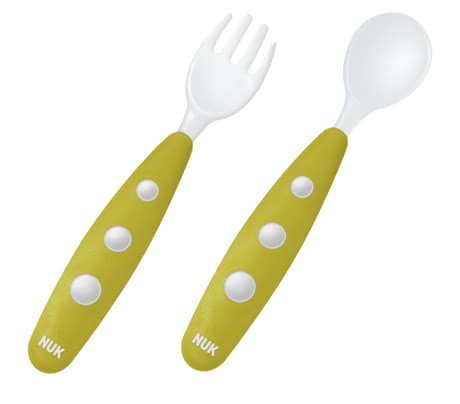 NUK 兩件餐具組 EASY LEARNING Mini -  * After a few months your little precious will be very keen on enjoying his meal together with you at the table. This is when the time has come for your little one to make his first attempts at eating with his very own cutlery. The NUK EASY LEARNING mini-cutlery is perfectly suitable for that.