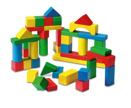 Wooden building blocks set - * The 50 colorful wooden building blocks provide your sweetheart from the first year unlimited construction-possibilities