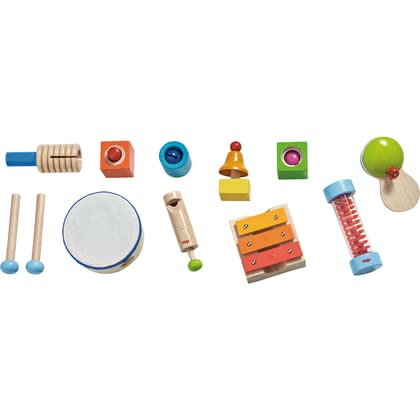 HABA 音樂玩具套裝 -  * The magic flute sounds, the drum beats to the music. One, two, three - sound magic! The handy acoustic stones squeak, rattle, ring or a bell chimes happily.