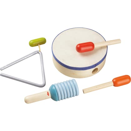 Haba 木鼓套件 -  * Creating undertones or beating the drum loudly... Haba's Rhythmics Set comes with instruments that have something for everybody.