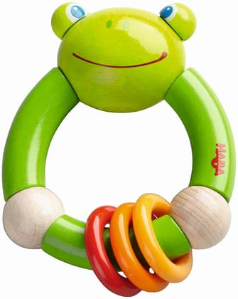 Haba 青蛙手抓搖鈴 Quakefrosch -  * This amazing clutching toy with a funny frog design accompanies your little one in everyday life and is suitable for children at the age of 10 months on.
