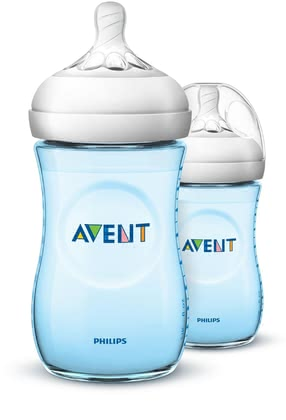 AVENT 兩入安撫奶瓶,藍色 -  * Close to nature! – Now available for your baby boy! The blue bottles are ergonomically shaped and easy to hold and grip in any direction for maximum comfort, even for your little boy's tiny hands. /ul>