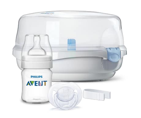 AVENT 微波爐蒸氣消毒器及相應配件 -  * Whether bottles, teats, soothers can quickly and easily be sterilised with the Avent microwave steam steriliser. Simply fill in the water, insert the bottles and turn on the microwave. *