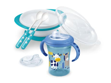 NUK 學食組 -  * The NUK Learning to Eat Set comes with 1 x starter cup, 1 x feeding bowl, 2 x feeding spoons and 1 x replacement spout and is suitable for children at the age of 6 months and older.