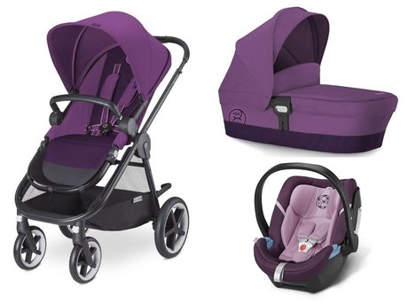 Cybex Stroller Balios M + carrycot attachment M + infant carrier Aton 4 Grape Juice - purple 2015 - 大圖像
