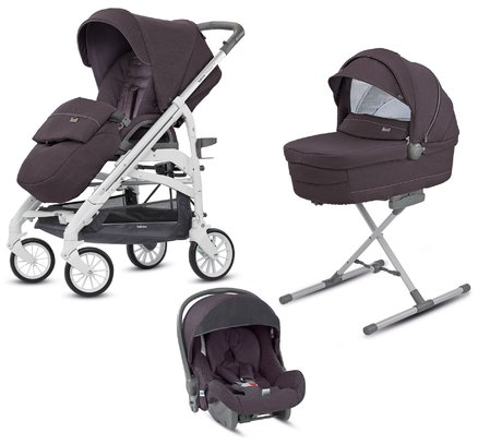 Inglesina英吉利那Trilogy 卓爵兒童推車系統 - * This system will accompany you and your little one from birth on until the toddler age. The 4-piece set contains the stylish frame with the carrycot, the carrying bag, the infant carrier Huggy group 0+ and the diaper bag. With all its versatile functions and its flexibility, this set will convince you straightaway.