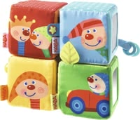 "Haba堆疊方塊玩具Kalle Kasper -  * Little explorers at the age of six months and older will instantly fall in love with the cheerful colours, patterns and objects of the stacking dice ""Kalle the Clown"" by Haba."