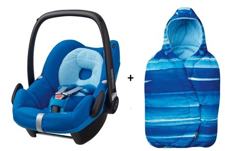 Maxi-Cosi infant carrier Pebble incl. Foot muff Watercolour Blue 2016 - 大圖像