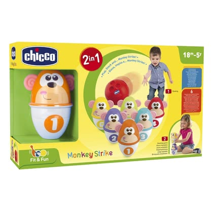 Chicco 猴子造型保齡球玩具 - * Chicco bowling – Consists of six colourful pins with funny monkey faces.</ul<