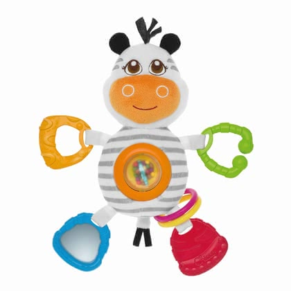 Chicco 斑馬先生手搖鈴 - * Chicco rattle Mr. Zebra – This toy offers numerous possibilies to play.