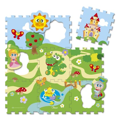 "Chicco拼圖寶寶爬行毯 -  * Chicco's jigsaw puzzle play mats ""City & Castle"" do not only bring exciting jigsaw puzzle fun into your child's nursery, but also provide a soft and sturdy playing mat for your little one to play and crawl on."
