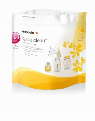 Medela 微波爐加熱袋 Quick Clean - * Medela Quick Clean microwave bag – Sterilising will be very easy with this microwave bag. Safe, quick and useful!