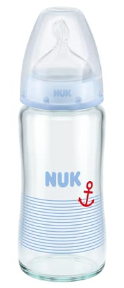 NUK First Choice+ 嬰兒玻璃奶瓶,矽膠防脹氣奶嘴 -  * The high-quality, durable NUK First Choice+ Glass Baby Bottles are particularly hygienic and easy to use. There are two trendy designs available: pink for baby-girls and a blue maritime design for baby-boys.