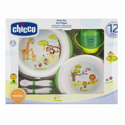 Chicco 儿童餐具礼盒,十二个月以上适用 - * Chicco gift set meal 12m+ - The gift set contains everything your child needs to eat on his/her own.