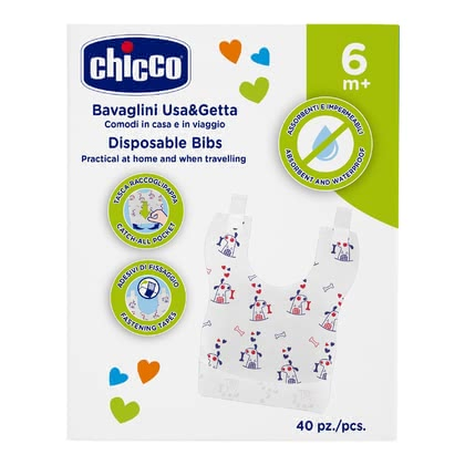 "Chicco 一次性围兜兜 - * Chicco disposable bib – Ideal for being on the go – the disposable bib ""Easy Meal"" by Chicco."