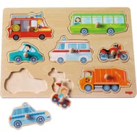 "Haba 手抓拼图""交通工具世界"" - * Haba grasping puzzle ""vehicle world"" – Learning how to puzzle and discovering vehicles in doing so – with the Haba grasping puzzle."