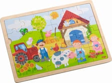 "Haba 木质拼图""安东的农场"" - * Haba wooden puzzle – Anton's farm"" – Put all 24 pieces of this puzzle together and a farm will arise."