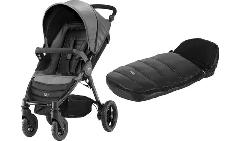 Britax B-Motion 4 兒童四輪推車含腳袋Shiny Cosytoes Black Denim 2018 - 大圖像
