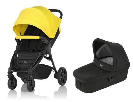 Britax 儿童推车 B-Agile 4 Plus,含晴雨两用罩 Canopy Pack + 睡篮 Hard Carrycot Sunshine Yellow 2017 - 大圖像