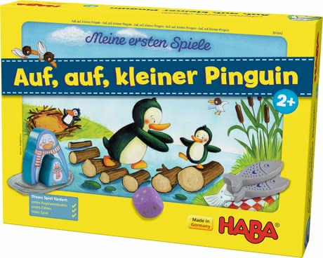"Haba 我的第一个玩具""前进,前进,小企鹅"" - * Haba My first games ""Let's go, little penguin"" – A cute cube game with large wooden figures."