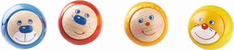 Haba 可爱表情球,四入 - * Haba display rollicking rollers, set of 4 - This toy is ideal for playing with or without a ball track.