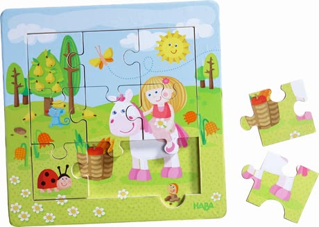 "Haba 木框拼图""仙女花园"" - * Haba framed wooden puzzle ""Fairy Garden"" – nine handy puzzle pieces for double fun."