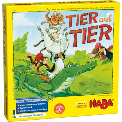 "HABA Stacking Game ""Animal upon Animal"" -  * A fun stacking game that has delighted young and old players for over 10 years."