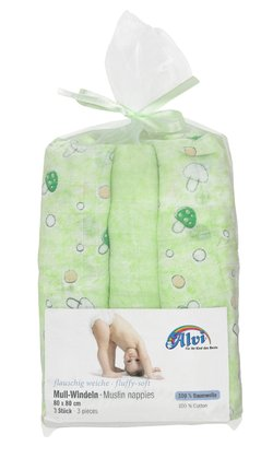 Alvi Mull 尿布巾 -  3 入歐根紗袋裝 -  * The soft and absorbent gauze nappies by Alvi will make your little one feel comfortable and snug.