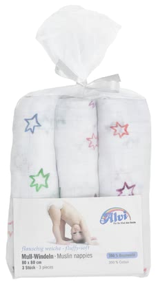 Alvi Mull 尿布巾 -  3 入裝 -  * The soft and absorbent gauze nappies by Alvi will make your little one feel comfortable and snug.