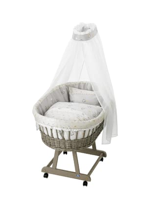 "Alvi 完整組移動嬰兒床 Birthe taupe – 條紋小熊款 -  * The bassinet ""Birthe"" by Alvi fits perfectly in every nursery and transforms your child's first sleeping place into a particularly cosy and romantic spot."