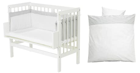 Alvi可拼接大床嬰兒床 包含5件套 小點點設計 -  * This Alvi set contains a co-sleeping bed, a mattress, bed linen, cot bumper and fitted sheet and thus, provides your little one with everything they need for a pleasant and restful sleep.