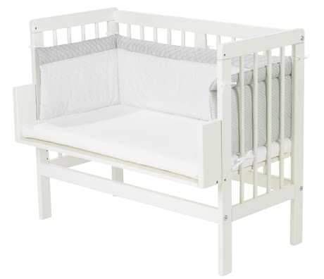 Alvi灰色小點條紋床圍 適用於嬰兒附加床 -  * With the Alvi Cot Bumper your child will sleep safe and cuddled up in his or her cot.