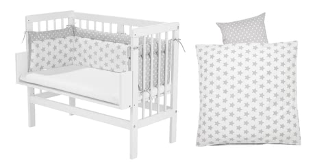 Alvi嬰兒床拼接大床-套裝(5件套),銀色星星款 -  * A bedside cot, a mattress, a cot bumper and a fitted sheet - everything you need to make your little one sleep heavenly comes with this amazing set by Alvi.