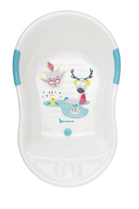 Badabulle 嬰兒洗澡浴盆 白色動物款 -  * The large baby bath tub by Badabulle supplies your little one with enough space to splash happily.