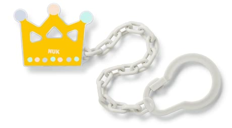 NUK 奶嘴鏈 -  * This lovely Soother Chain by NUK ensures that your little one's favourite soother is easy to reach at any time. If fastened properly the soother will neither get lost nor fall on the floor. Due to a practical clip which can be opened and closed easily you can attach the chain to your child's clothing without any effort.