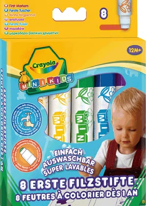 Crayola初選記號筆 -  * These amazing markers by Crayola have been developed specifically for the smallest among us. Eight vividly coloured markers that feature a rounded tip ensure safe and secure painting.