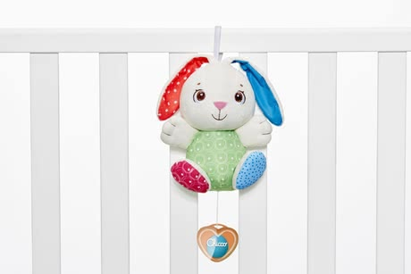 Chicco First Love 小兔子Fluffy音樂吊飾 - Chicco's First Love Music Box Fluffy the Rabbit is a real treat for your new-born child or else a cute little present to give away to expecting moms.