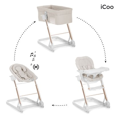 iCoo Grow with me 123 成長型睡籃搖籃高腳椅三合一 -  * With iCoo's Grow with Me 1-2-3 you are fully equipped at all times. Three different attachments turn the trendy frame into a cosy sleeping place, a comfortable bouncer or else into a practical highchair.