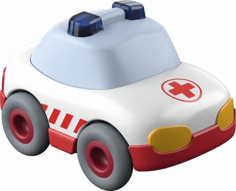 Haba救護玩具車 -  * This cute little ambulance runs down any ball track with high speed. Due to the momentum motor a gentle push is enough to make the ambulance race to the next deployment site.