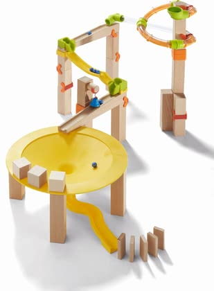 Haba滾珠軌道游戲 -  * Haba's ball track basic pack Funnel Jungle can be set up in various ways and guarantees maximum speed. Speed tubes and funnel curves can be adjusted in height.
