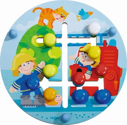 "Haba玩具板消防世界 -  * This adorable motor skills board ""Fire Department World"" which is printed on both sides imparts the knowledge of colours and geometric figures."