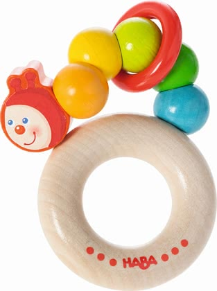 Haba抓握玩具 彩虹毛毛蟲 -  * Haba's clutching toy Rainbow Caterpillar clatters happily at every movement.