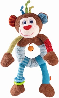 Haba抓握玩具猴子Lino -  * Haba's clutching figure Lino Lemur takes your child on an exciting adventure. Bright colours as well as various shapes and sounds stimulate and train all of your little one's senses.